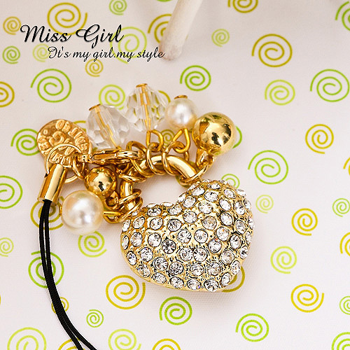 Factory Outlet Price Wholesale 6pcs/lot Miss girl pearl locks of love mobile phone chain(China (Mainland))
