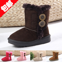 Buckle male female child boots child slip-resistant waterproof snow boots baby berber fleece cotton-padded shoes children shoes