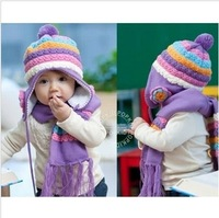 Male knitted hat scarf set flower child ear protector cap scarf cap sleeve