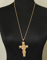 Wholesale New Fashion Women Vintage Luxury Crystal Glass Yellow Gold Cross Pendant Necklace Costume Jewelry Free Shipping