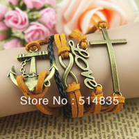 New Retro Bronze Infinity Love Anchor Cross Charms Suede Leather Wrap Bracelet