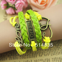 New Retro Bronze Love Dream Hearts Charms Suede Rope Leather Wrap Bracelet DIY