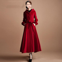 Winter 2013 Slim New Korean Women Wool Cashmere Outwear Coat Female Fasion Long Overcoat  With Hooded Single Breasted S-XXL Red