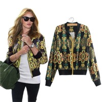 New Hot Fashion Women's Coat Jacket Zipper Long-sleeved Thin Coats Print Chiffon Outerwear 18929 F