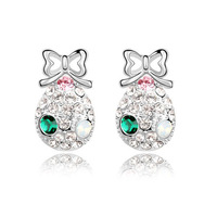 Free Shipping Sweet Gift High Quality 18K White Gold Plated Bowknot Crystals Earrings Jewelry