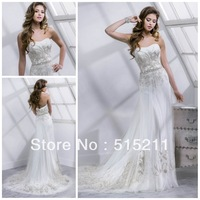 Lovely Embroidery Sweetheart White Satin And Tulle Low Back Wedding Gowns 2014 New Vestidos Novia Dresses