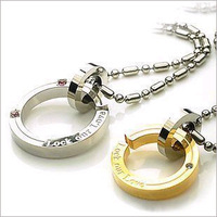 "FSGX350 Fashion  ""Lock Our Love"" Couple Necklace 316L Stainless Steel Couple Jewelry"