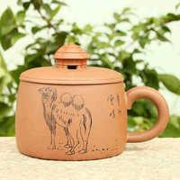 YIXING purple clay pure handmade Mongolian yurt  tea cup,450ML. free shipping,