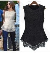 2013 New Fashion Women Lined 100% Cotton Lace European American Sexy Sleeveless tops dress Free Shipping QD14