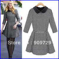 Fashion women ol houndstooth peter pan collar woolen basic skirt one-piece dress autumn/winter dress free shipping