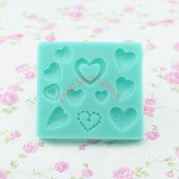 Free shipping 1 set 11 pcs hearts shape chocolate silicon mold fondant Cake decoration mold