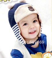 Two-piece hat scarf / baby add wool knitted cap /naughty bear hat with earflaps/ / 5 pcs per lot