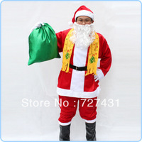 Free shipping Christmas clothing Santa Claus clothing clothes adult 10 pieces set  1.1 kg