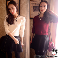 2013 winter women's vivi small crochet pullover o-neck short design high waist sweater