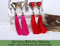 ZH0775 Newest High Quality long Triangle glass tassel  Earrings fashion jewelry 2013 Drop earrings  (min mix order $10)