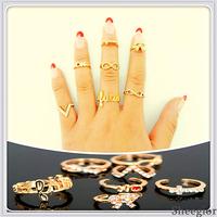 Sheegior 2013 New Fashion Design Vintage Cool rhinestone bowknot/cross/glass/letter women ring set Free shipping !