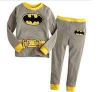 FREE SHIPPING 6sets/ lot  boy pajamas set children batman pajamas set  kids long sleeve pajamas /sleepwear suit t-shirt+pant
