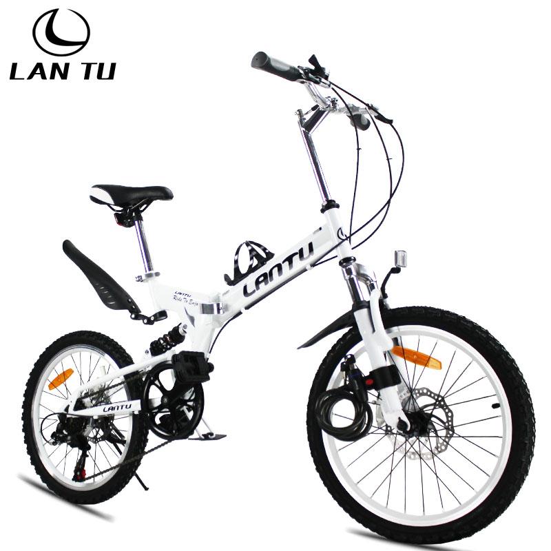 Lantu 20 double folding bicycle folding bike disc brakes mountain bike(China (Mainland))
