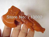 Rare Burnish Sunset Glow Jade axe Carving - Fortune Pig Handle