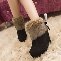 Paltform winter snow boots fur boots female ankle boots high-heeled platform boots red bride wedding shoes