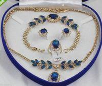 Beautiful 18K GP blue Cubic Zirconia bracelet earring ring necklace pendant