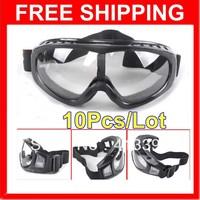 Hotsale 2013 10 Adjustable Transparent Lens Motorcycle Bike ATV SKI TACTICAL Goggles GLASSES