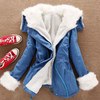 Women's 4 Color thick Artificial Lamb's wool hooded cotton padded jacket Coat 40