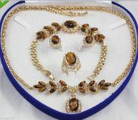 Tiger Eye Stone necklace bracelet earring ring set