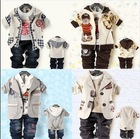 2013 Children's Clothing Sets cotton coat+T-shirt+pants Baby Boys Kids 3pcs suit sets Baby denim Clothing Sets shipping(China (Mainland))