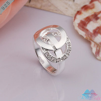 Wholesales Fashion Jewelry 925 Sterling Silver Zircon Crystal Trendy Round Silver Rings for women CR291