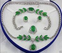 Charming Set Jewelry Green Jade Necklace Bracelet Earring Ring