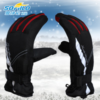 Male women's winter outside sport skiing thickening thermal slip-resistant battery car ride gloves