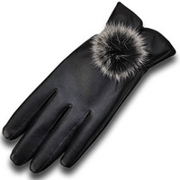 Women's leather gloves winter waterproof rex rabbit hair ball thermal gloves plus velvet autumn and winter gloves female