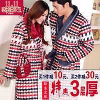 Winter thickening lovers robe coral fleece robe cotton-padded male women's flannel plus size sleepwear bathrobes