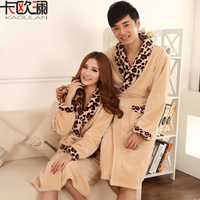 Autumn and winter plus size thickening flannel lovers robe leopard print coral fleece bathrobe sleepwear lounge