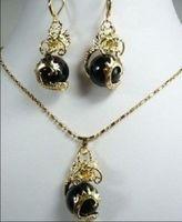 Charming Black Jade Dragon Pendant Necklace Earring set