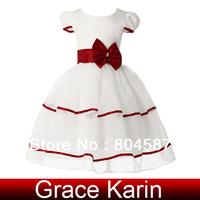 Free Shipping Hot Flower Girl Dresses Short Sleeve Princess Wedding Party Dress for Kids Children Costume Christmas CL4605