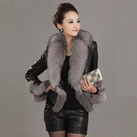 2014 new winter 100% real natural large fox fur collar coat short sheepskin genuine leather clothing jacket plus size WTP2