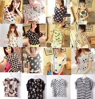 New Chiffon Blouse for Women Free Shipping Many Design of Print  Breathable Summer Dressing Good Qulity 3 Fashion Different size
