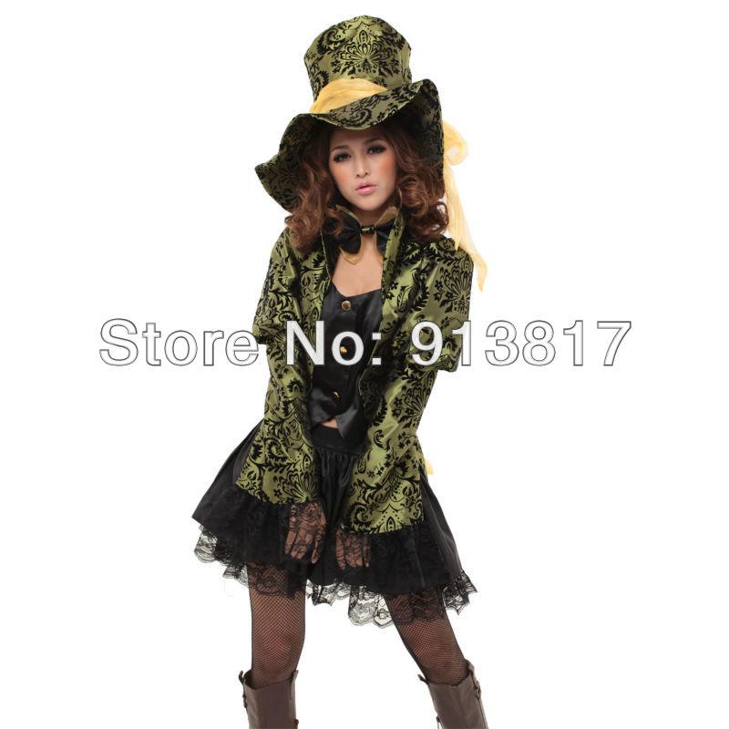 Meraviglie cappellaio matto costume cosplay costume 945 camicia verde