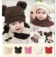 New Fashion Korean Flash Drill Baby Hat Love Dual Ball Knitted Girls/Boys Wool Cap 5 colors free shipping 7365