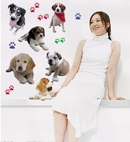 2013 New  Removable Room Decor Lovely Dogs and Paws Design  Decorative Living Room Bedroom  Decor  wall Stickers 70*50cm