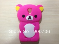 cute bear silicone case for samsung galaxy S IV I9500 1pcs silicone case for samsung galaxy S4 i9500