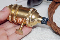 Wholesale e26e27 underplating vintage Bronze gold copper lamp holder with twist wire and ceiling pendant light diy accessories