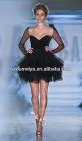 Free Shipping OUMEIYA OEE745 Elegant Tulle and Organza Ruffles Long Sleeve Short Evening Dress Black 2014