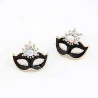 Free Shipping, Fashion Bohemia Mask Earrings,Imitation Diamond Charm Earrings For Women
