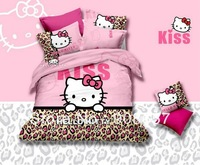pink hello kitty character brown leopard skin print queen full quilt duvet cover girls bedding cotton comforter bed in a bag set