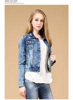 Fashion womens retro palace pattern blue denim jacket Jean Coat clothing J_27