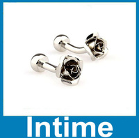 fashion free shipping wholesalesell cheap high quality enamel rose metal cufflink