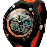 New Men's Orange Brezel Rubber Strap Analog Digital Dual Dial Luxury Sport Watch WS055
